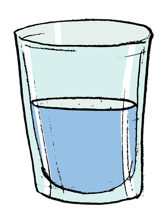 Hand drawn,  sketch illustration of glass with water Vector