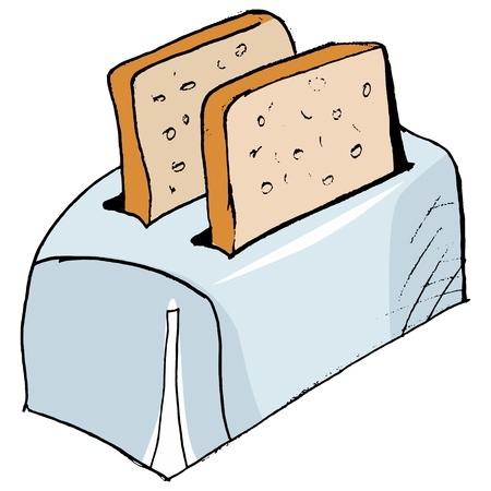 Hand drawn,  sketch illustration of toaster Vector