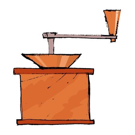 młynek do kawy: Wyciągnąć rękę, ilustracja szkic młynku do kawy