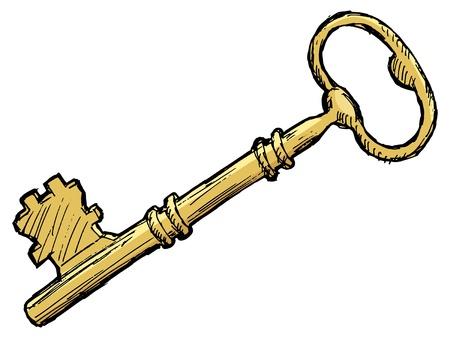 Hand drawn, sketch illustration of vintage key