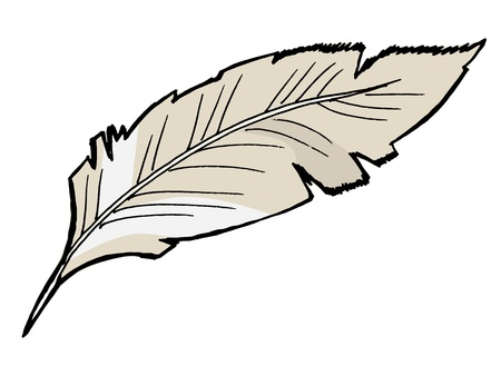 literary: Hand drawn, sketch illustration of feather