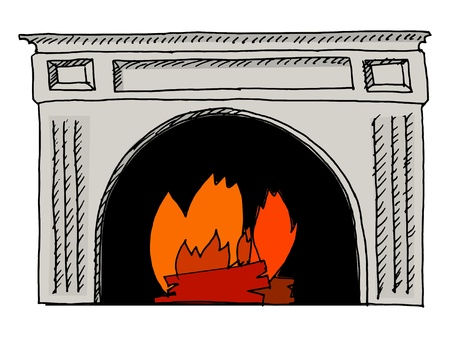 hand drawn, vector, sketch illustration of fireplace Stock Vector - 17080851