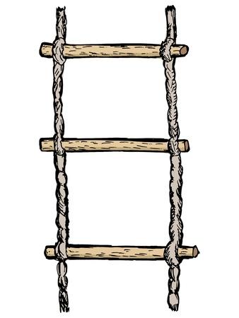rope ladder: hand drawn, vector, dibujo ilustraci�n de escalera de cuerda