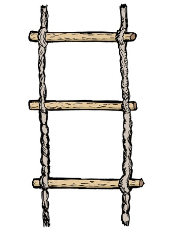 hand drawn, vector, sketch illustration of rope-ladder Stock Vector - 17080862