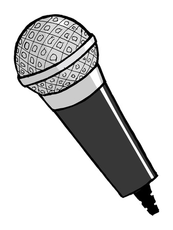 hand drawn, cartoon, vector illustration of microphone Vector