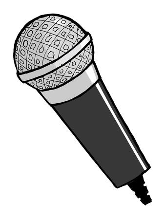 hand drawn, cartoon, vector illustration of microphone Stock Vector - 17080871