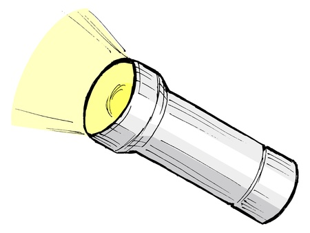 hand drawn, cartoon, sketch illustration of metallic flashlight Vector