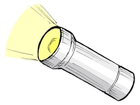 taschenlampe: Hand gezeichnet, Cartoon, Skizze Darstellung metallic Taschenlampe