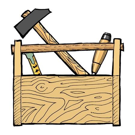 hand drawn, cartoon, vector illustration of toolbox Stock Vector - 17080869