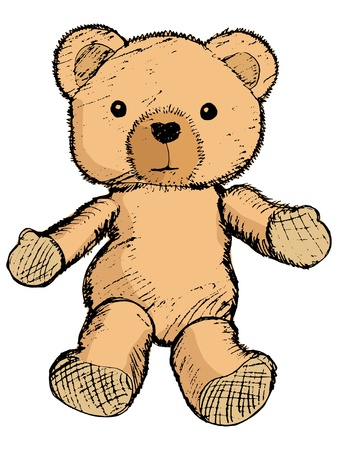 hand drawn, sketch illustration of teddy bear Vector