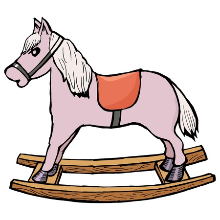 hand drawn, cartoon,illustration of rocking horse Stock Vector - 17202753