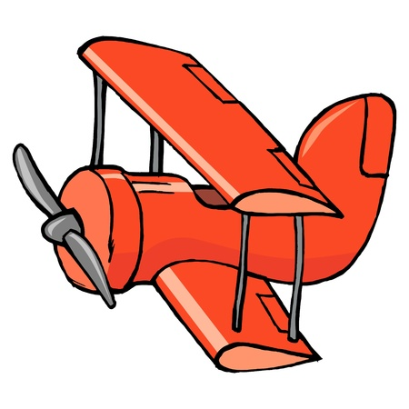 hand drawn, cartoon, illustration of toy airplane Stock Vector - 17224738