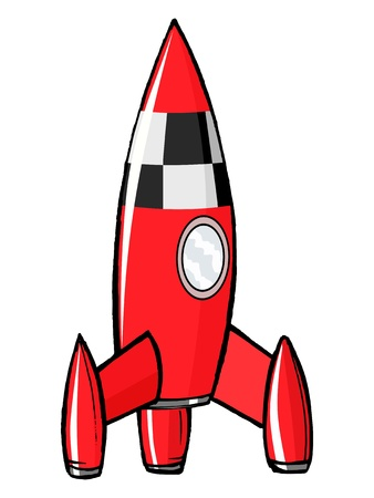 illuminator: hand drawn, cartoon, illustration of toy rocket