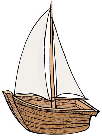 hand drawn, cartoon, illustration of sailboat toy Vector