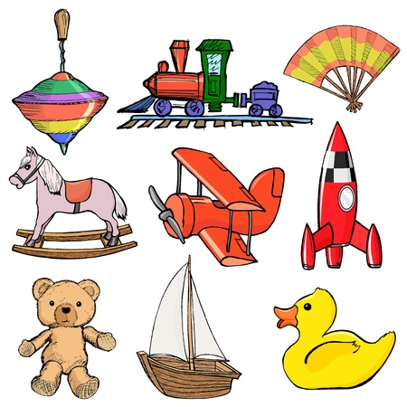 Set of sketch, cartoon illustration of toys Vector