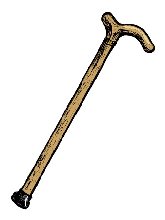 walking stick: hand drawn cartoon image of walking stick Illustration