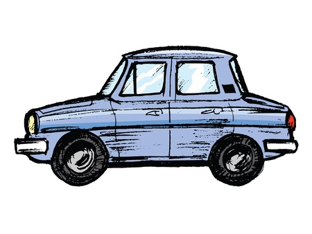 collectibles: hand drawn, sketch, cartoon illustration of model of car