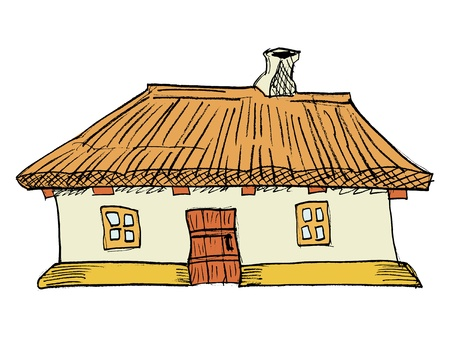 thatched roof: cartoon, Ukrainian traditional house