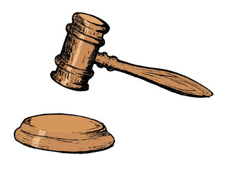 court proceedings: hand drawn, vector, sketch illustration of court gavel