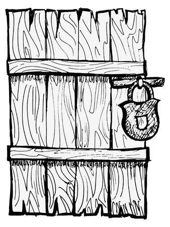 doorframe: Puerta de madera vieja, cerrada con una cerradura Vectores