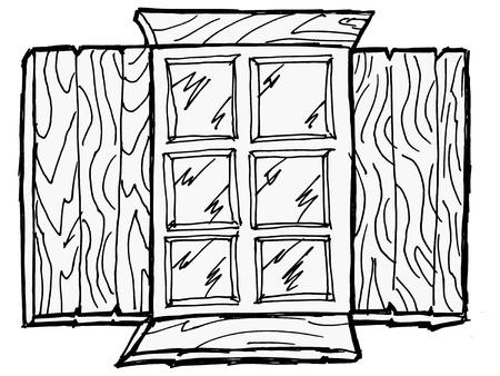 Old wooden window with the storm window Vector