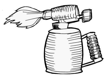 Illustration of the blowlamp with opened flame Stock Vector - 17622736