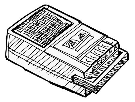 magnetofon: Ilustracja kompaktowej magnetofonu na białym tle