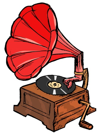 restored: hand drawn, vector, sketch illustration of phonograph