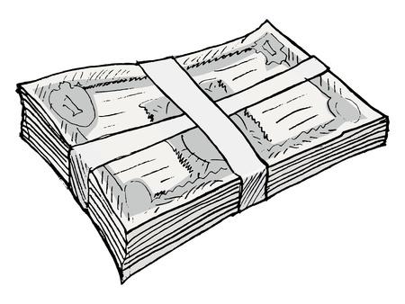 hand drawn, vector, sketch illustration of bundle of money Stock Vector - 17724280