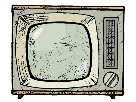 hand drawn, vector, sketch illustration of vintage TV set Vector