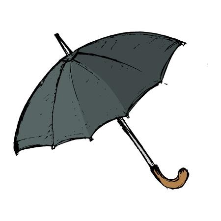 hand drawn, vector, sketch illustration of umbrella Vector