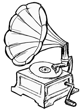 hand drawn, vector, sketch illustration of phonograph