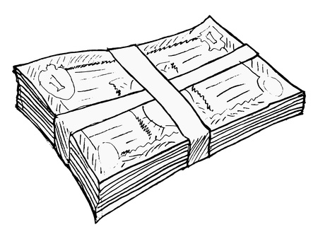 hand drawn, vector, sketch illustration of bundle of money Stock Vector - 17724288
