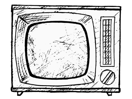hand drawn, vector, sketch illustration of vintage TV set Stock Vector - 17724282
