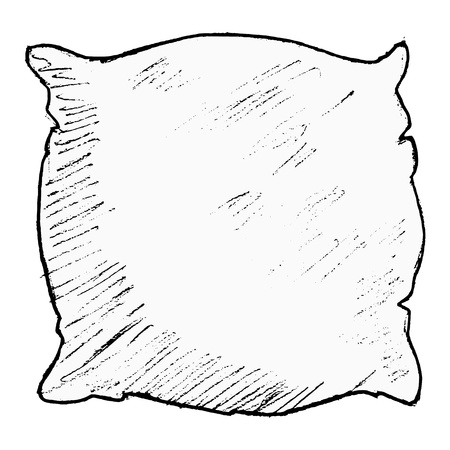 puffy: hand drawn, vector, sketch illustration of pillow
