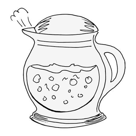 hand drawn of an electric kettle on white Vector