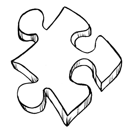 hand drawn, vector, sketch illustration of puzzle Illustration