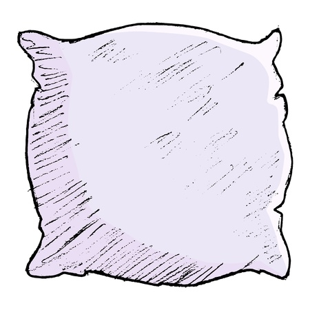 headboard: hand drawn, vector, sketch illustration of pillow