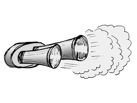 muffler: hand drawn, illustration of car exhaust pipe