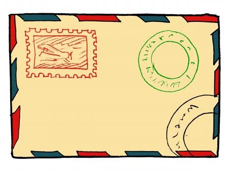 hand drawn, vector, sketch illustration of envelope Vector
