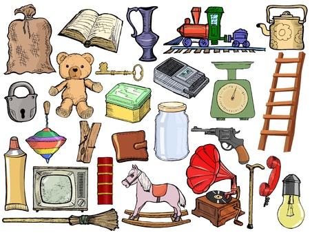 cocina antigua: juego de, ilustraci�n de dibujos animados de objetos vintage