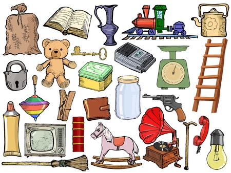 old kitchen: set of , cartoon illustration of vintage objects