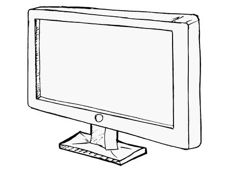 hand drawn,cartoon illustration of monitor Vector
