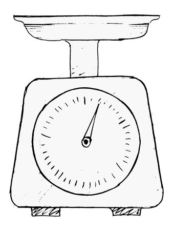 hand drawn, vector, sketch illustration of domestic weigh-scales Vektorové ilustrace