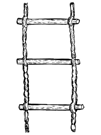 rope way: hand drawn, sketch illustration of rope-ladder