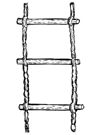 rope ladder: hand drawn, sketch illustration of rope-ladder