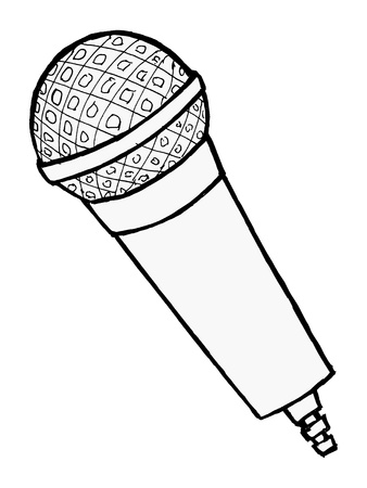 hand drawn, cartoon, illustration of microphone Stock Vector - 18056654