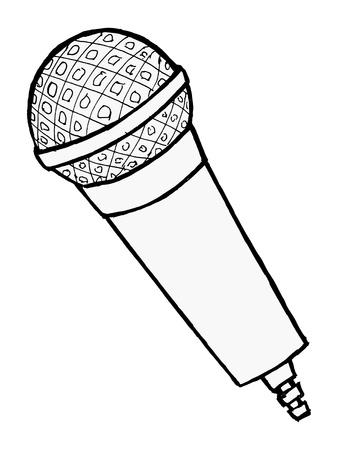 hand drawn, cartoon, illustration of microphone Stock Vector - 18056654