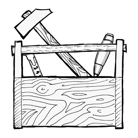 hand drawn, cartoon, illustration of toolbox Stock Vector - 18056665
