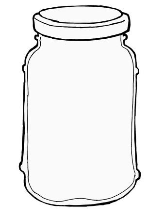 hand, getrokken, schets illustratie van pot